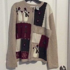 Croft & Barrow Sz M Ugly Christmas Sweater Zip